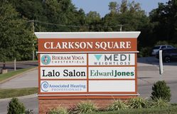 Clarkson Square Mall, Ellisville Missouri. Clarkson Square Shopping Mall located just outside the city of St. Louis, Missouri Royalty Free Stock Photo