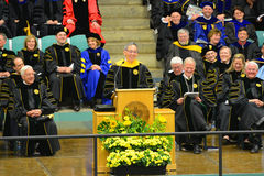 Clarkson University 2014 Graduation Ceremony. Clarkson University Honorary Degree Recipient Steven Chu (Recipient of the 1997 Nobel Prize for Physics) at 2014 Royalty Free Stock Images