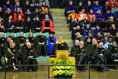 Clarkson University 2014 Graduation Ceremony. Clarkson University Honorary Degree Recipient Steven Chu (Recipient of the 1997 Nobel Prize for Physics) at 2014 Stock Images