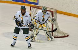 Clarkson University players in NCAA Hockey Game Stock Images