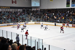 Clarkson University players in NCAA Hockey Game Royalty Free Stock Images