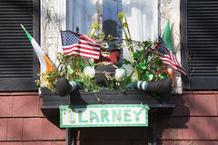 Clarney window display, St. Patrick's Day Parade, 2014, South Boston, Massachusetts, USA Royalty Free Stock Photos