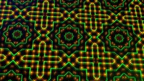 Claro animado shinning pontos verdes e alaranjados e formas das estrelas ilustração do vetor