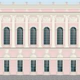 Claro - backround clássico da parede do palácio da fachada de creme cor-de-rosa sem emenda ilustração stock