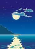 Claro de luna en el mar Imagen de archivo