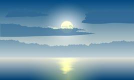 Claro de luna en el mar stock de ilustración