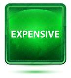 Claro de néon caro - botão quadrado verde ilustração stock