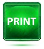 Claro de néon da cópia - botão quadrado verde ilustração royalty free