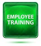 Claro de néon da formação de trabalhadores - botão quadrado verde ilustração stock