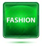 Claro de néon da forma - botão quadrado verde ilustração royalty free