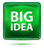 Claro de néon da ideia grande - botão quadrado verde ilustração royalty free