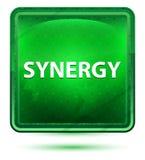 Claro de néon da sinergia - botão quadrado verde ilustração do vetor