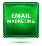 Claro de néon do mercado do e-mail - botão verde do quadrado ilustração royalty free