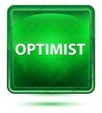 Claro de néon do otimista botão quadrado verde ilustração do vetor