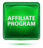 Claro de néon do programa da filial - botão quadrado verde ilustração royalty free