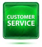 Claro de néon do serviço ao cliente - botão quadrado verde ilustração do vetor