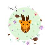 Claro del bosque con los animales y las plantas ilustración del vector