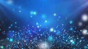Claro - estrelas de brilho de flutuação azuis que dão laços no fundo do movimento video estoque