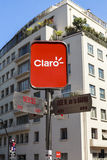 CLARO SIGN ON THE STREET OF SANTIAGO, CHILE Stock Image