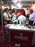 Clarol professional exhibition stand. This is the photo of clarol professional exhibition stand. Venue- Professional Beauty Expo,Mumbai Date-6th oct 2015 stock photo