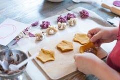 Clase de cocina, culinaria moldeado del concepto de la comida y de la gente de las bolas de masa hervida del pelmeni o de la carn foto de archivo
