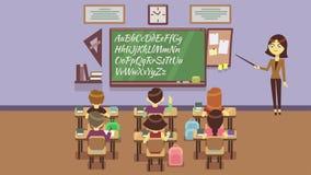 Clase de escuela con la animación de los alumnos stock de ilustración