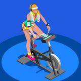 Clase de giro de la aptitud de la bicicleta estática bici de giro completamente isométrica de la aptitud 3D ilustración del vector