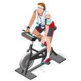 Clase de giro de la aptitud de la bicicleta estática bici de giro completamente isométrica de la aptitud 3D Clase del gimnasio qu libre illustration
