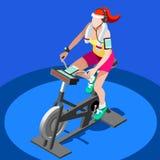 Clase de giro de la aptitud de la bicicleta estática bici de giro completamente isométrica de la aptitud 3D Clase del gimnasio qu ilustración del vector