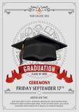 Clase de la graduaci?n de dise?o de la tarjeta 2019 o de la invitaci?n de felicitaci?n con los sombreros del vuelo y los elemento stock de ilustración