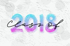 Clase de 2018 Logotipo dibujado mano de la graduación de las letras del cepillo Plantilla para el diseño de la graduación, partid Imagen de archivo