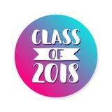 Clase de 2018 Logotipo dibujado mano de la graduación de las letras del cepillo Plantilla para el diseño de la graduación, partid Imágenes de archivo libres de regalías