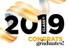 Clase de los graduados de la enhorabuena del logotipo 2019 del vector Plantilla del fondo de la graduación Saludo de la bandera p ilustración del vector