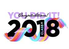 Clase de los graduados de la enhorabuena de logotipo de 2018 vectores Fotos de archivo