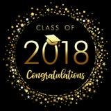 Clase del cartel 2018 de la graduación con confeti del brillo del oro Foto de archivo libre de regalías