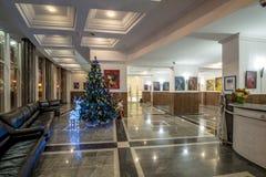 Clase del ` s Moscú del Año Nuevo Hogar y adornamiento de un árbol de navidad en invierno Fotos de archivo