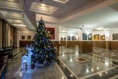 Clase del ` s Moscú del Año Nuevo Hogar y adornamiento de un árbol de navidad en invierno Fotografía de archivo libre de regalías