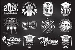 Clase del vector de la insignia 2019 Concepto para la camisa, la impresión, el sello, la capa o el sello, saludo, tarjeta de la i stock de ilustración
