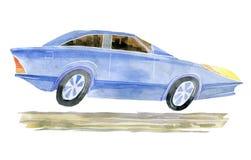 Clase ejecutiva del coche de la historieta Ejemplo de la acuarela aislado del fondo fotografía de archivo