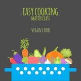 Clase principal de cocinar fácil Cazuela con las verduras en el CCB oscuro stock de ilustración