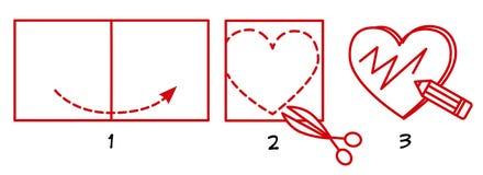 Clase principal en la fabricación de una postal para el día de tarjeta del día de San Valentín, esquema libre illustration