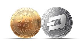 Clash of Bitcoin and Dash coins isolated on white background Stock Photos