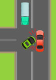 Clash of Cars on T-Junction Flat Vector Diagram. Clash of cars on T-Junction flat vector illustration. Road rules violations example on top view diagram. Traffic Royalty Free Stock Photo