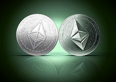 Clash of Ethereum and Ethereum classic coins on a gently lit reflective dark green background with copy space. Competing cryptocurrencies concept stock illustration