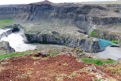 Clash of rivers near Dettifoss in iceland Stock Photos