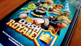 Clash Royale off screen MOBILE gaming. An off screen image of Clash Royale of Supercell Stock Images
