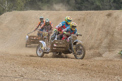 Clash of two crew of sidecars Royalty Free Stock Photography