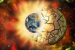 Clash of two planets in open space. Elements of this image furnished by NASA http://www.nasa.gov Stock Photos