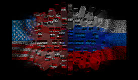 Clash of the United States and Russia. Confrontation, the clash of the United States and Russia, on the example of national flags Royalty Free Stock Photography