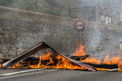 Clashes between miners and anti riot police Stock Photos